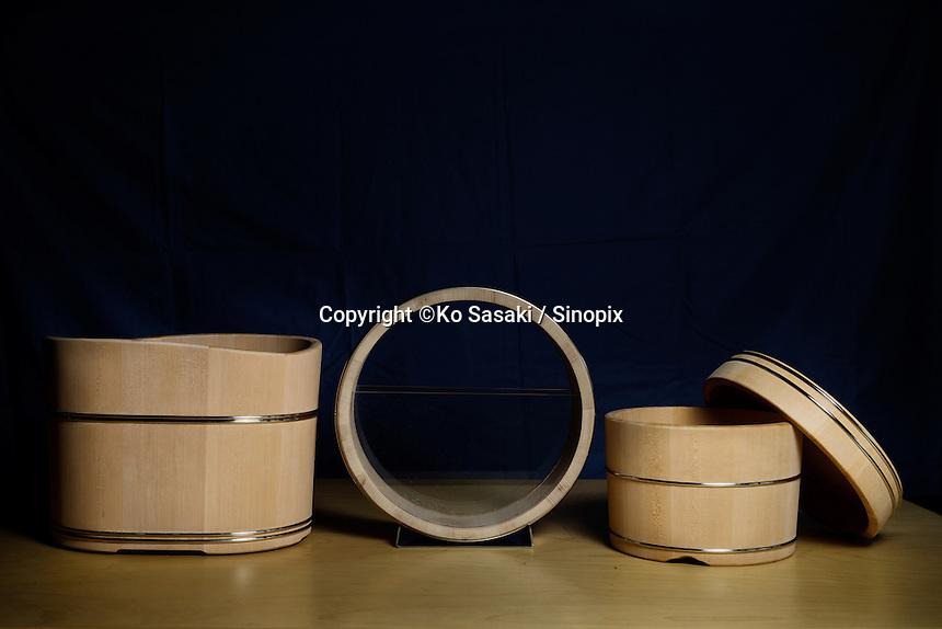 Wooden buckets made by Eifu Kawabata of Okeei