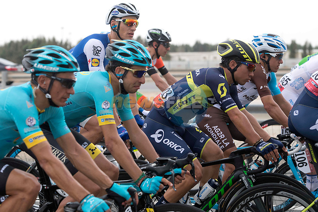 The peloton including Valerio Agnoli and Fabio Aru (ITA) Astana Pro Team, Marcel Kittel (GER) Quick-Step Floors and Caleb Ewan (AUS) Orica-Scott in action during Stage 2 the Nation Towers Stage of the 2017 Abu Dhabi Tour, running 153km around the city of Abu Dhabi, Abu Dhabi. 24th February 2017<br /> Picture: ANSA/Claudio Peri | Newsfile<br /> <br /> <br /> All photos usage must carry mandatory copyright credit (&copy; Newsfile | ANSA)