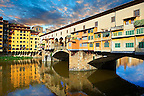 The medieval The Ponte Vecchio (&quot;Old Bridge&quot;) crossing the River Arno in the hiostoric centre of Florence, Italy, UNESCO World Heritage Site.