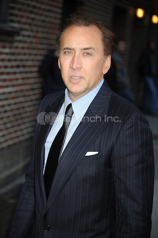 Nicolas Cage at the Ed Sullivan Theater for an appearance on Late Show With David Letterman in New York City. February 9, 2012. © mpi01/MediaPunch Inc