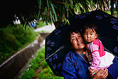 Asia, Tibet, Bhutan, Thimpu, Grandmother and nephew