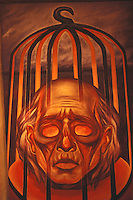 Painting of Miguel Hidalgo's severed head in the iron cage that was eventually hung on a corner of the Alhondiga de Granaditas in Guanajuato. On display in the Museo Casa de Hidalgo, his former home in the town of Dolores Hidalgo, Mexico.