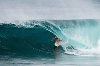 PIPELINE, Oahu, Hawaii (Sunday, December 8, 2013) Bede Durbidge (AUS). - The opening day of the Billabong Pipe Masters, in Memory of Andy Irons, commenced today in firing six-to-eight foot (2 metre) waves and the world's best surfers put on an incredible display of technical barrel riding at Pipeline and Backdoor to complete Rounds 1 and 2. The Billabong Pipe Masters is the third and final leg of the Vans Triple Crown of Surfing.<br /> <br /> The final stop on the ASP World Championship Tour (WCT), the Billabong Pipe Masters will decide the 2013 ASP World Title Race, the coveted Vans Triple Crown of Surfing Champion and the final qualification slots for next season's Top 34. <br /> Gabriel Medina (BRA), 19, would put together an amazing show at the iconic lefts of Pipeline to kick off the Billabong Pipe Masters, navigating through a heavy barrel on his opening score to post a near-perfect 9.67. The Brazilian Prodigy would quickly back up the ride, earning an additional 9 point score for another deep Pipe tube punctuated with a massive alley-oop, eliminating Bruce Irons (HAW), 34. Medina's unlikely aerial at Pipeline puts him in the running for a 250,000 mile prize from   Hawaiian Airlines Airshow award.<br /> Sebastian Zietz (HAW), 25, defending Vans Triple Crown of Surfing Champion, immediately found his rhythm at Pipeline, earning the first perfect 10-point ride of Billabong Pipe Masters competition for an unbelievable Backdoor barrel.<br /> Photo: joliphotos.com
