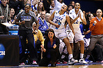 24 March 2014: Duke head coach Joanne P. McCallie (below) reacts to a basket with players Chelsea Gray (left), Kendall McCravey-Cooper (21), and Oderah Chidom (22). The Duke University Blue Devils played the DePaul University Blue Demons in an NCAA Division I Women's Basketball Tournament Second Round game at Cameron Indoor Stadium in Durham, North Carolina.