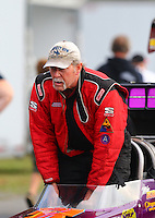 Oct 2, 2016; Mohnton, PA, USA; NHRA top alcohol dragster driver Mike Burns during the Dodge Nationals at Maple Grove Raceway. Mandatory Credit: Mark J. Rebilas-USA TODAY Sports
