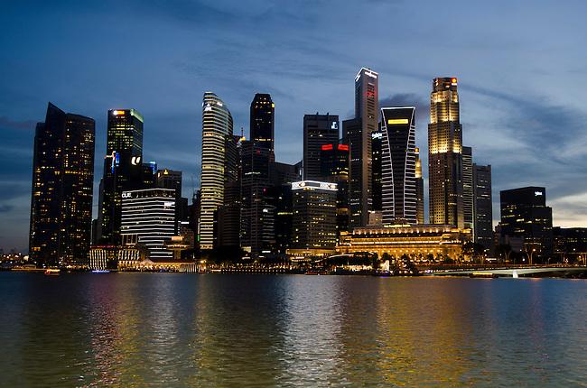 Singapore Skyline along Marina Bay