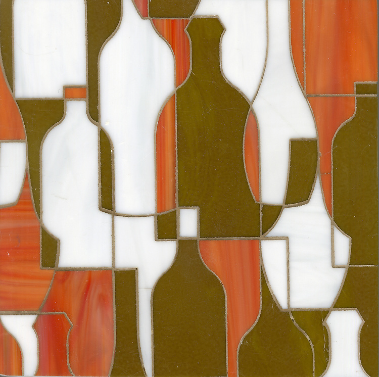 Bottles, a glass waterjet mosaic shown in Sardonyx, Moonstone and Charles, is part of the Erin Adams Collection for New Ravenna Mosaics.