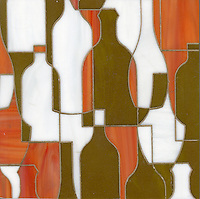 Bottles, a glass waterjet mosaic shown in Sardonyx, Moonstone and Charles, is part of the Erin Adams Collection for New Ravenna Mosaics.<br />