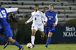 25 October 2013: Wake Forest's Jacori Hayes (8) is chased by Duke's Nick Palodichuk (11). The Duke University Blue Devils hosted the Wake Forest University Demon Deacons at Koskinen Stadium in Durham, NC in a 2013 NCAA Division I Men's Soccer match. The game ended in a 2-2 tie after two overtimes.