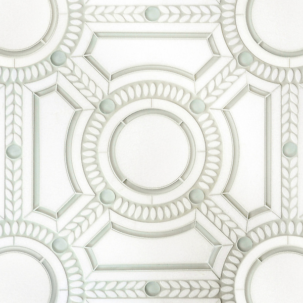 Augustus, a handmade mosaic shown in honed Thassos, polished Thassos and Tropical White glass. Designed by Sara Baldwin Designs for New Ravenna.<br /> <br /> For pricing samples and design help, click here: http://www.newravenna.com/showrooms/