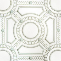Augustus, a handmade mosaic shown in honed Thassos, polished Thassos and Tropical White glass. Designed by Sara Baldwin Designs for New Ravenna.<br />