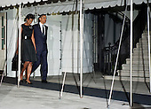 United States President Barack Obama and First Lady Michelle Obama depart for New York from the South Lawn of the White House in Washington, DC, on Sunday, September 11, 2011. .Credit: Joshua Roberts / Pool via CNP