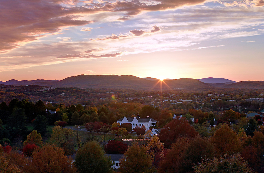 The sun sets over Charlottesville, VA. Photo/Andrew Shurtleff
