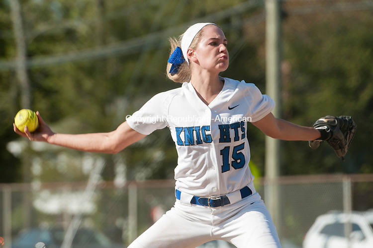 SOUTHINGTON, CT-7 May 2015-050715EC01-  Southington's pitcher Kendra Friedt throws against Torrington Thursday in Southington. Erin Covey Republican-American