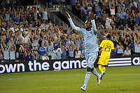Sporting KC midfielder Kei Kamara celebrates the opening goal from a penalty kick... Sporting Kansas City defeated Columbus Crew 2-1 at LIVESTRONG Sporting Park, Kansas City, Kansas.
