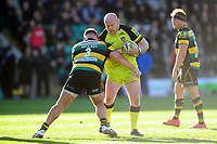 Dan Cole of Leicester Tigers is tackled by Kieran Brookes of Northampton Saints. Aviva Premiership match, between Northampton Saints and Leicester Tigers on March 25, 2017 at Franklin's Gardens in Northampton, England. Photo by: Patrick Khachfe / JMP