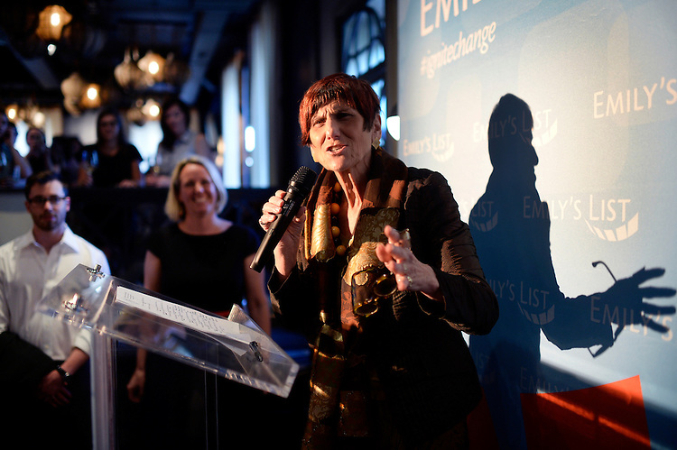 UNITED STATES - JULY 29: Rep. Rosa DeLauro, D-Conn., speaks during an EMILY's List event for young professionals on 14th St., NW, to emphasize the importance of electing women leaders in all levels of government, July 29, 2015. EMILY's List president Stephanie Schriock, appears at center. (Photo By Tom Williams/CQ Roll Call)