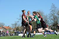 KORFBAL: REDUZUM: Sportpark Reduzum, 28-04-2013, Veld Hoofdklasse A, KV Mid Fryslân-LDODK AH Gorredijk, Eindstand 13-19, Erwin Zwart (#11 | LDODK) in duel met Thomas Brouwer (#15 | MF), ©foto Martin de Jong