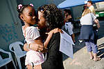 Anaja, 7, (left) and her mom Katesha Campbell of Sacramento celebrate Anaja's successsful audition for the Sacramento Ballet's Nutcracker production on Sunday, September 10, 2006. (Photo by Max Whittaker)