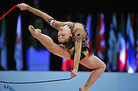 Daria Kondakova of Russia performs stag leap with rope during Event Finals at 2010 World Cup at Portimao, Portugal on March 14, 2010.  (Photo by Tom Theobald).
