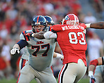 Ole Miss offensive lineman Patrick Junen (77) vs. Georgia at Sanford Stadium in Athens, Ga. on Saturday, November 3, 2012.