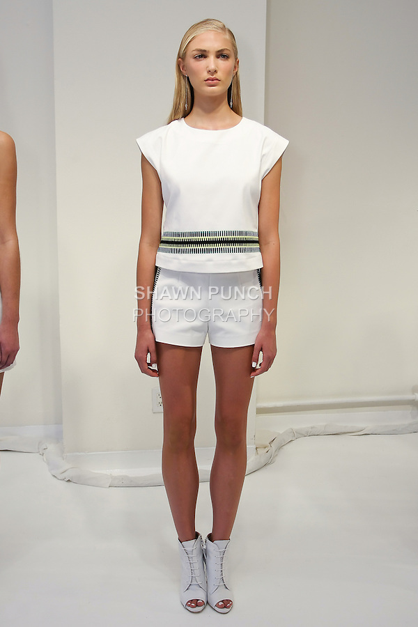 Model poses in an outfit by Stacey Clark, for the Odilon Spring 2012 collection presentation, during New York Fashion Spring 2012, on September 7, 2012.
