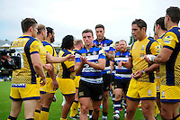 George Ford of Bath Rugby leads his team-mates off the field. Aviva Premiership match, between Bath Rugby and Worcester Warriors on September 17, 2016 at the Recreation Ground in Bath, England. Photo by: Patrick Khachfe / Onside Images