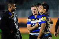 George Ford and Ben Tapuai of Bath Rugby look dejected after the match. Aviva Premiership match, between Bath Rugby and Exeter Chiefs on December 31, 2016 at the Recreation Ground in Bath, England. Photo by: Patrick Khachfe / Onside Images