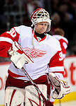 21 November 2009: Detroit Red Wings' goaltender Chris Osgood warms up prior to a game against the Montreal Canadiens at the Bell Centre in Montreal, Quebec, Canada. The Canadiens, wearing their original 1909-10 throwback jerseys, dropped the game to the Red Wings in a shootout 3-2 in the Original Six matchup. Mandatory Credit: Ed Wolfstein Photo