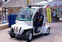 Eco -friendly electric police vehicle  in Playa del Carmen, Riviera Maya, Quintana Roo, Mexico.