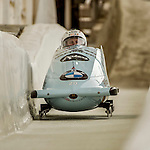 8 January 2016: Ugis Zalims, piloting his 2-man bobsled for Latvia, enters the Chicane straightaway on his first run, ending the day with a combined 2-run time of 1:51.41 and earning a 5th place finish at the BMW IBSF World Cup Championships at the Olympic Sports Track in Lake Placid, New York, USA. Mandatory Credit: Ed Wolfstein Photo *** RAW (NEF) Image File Available ***