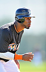 13 March 2012: Miami Marlins infielder Jose Reyes takes pre-game drills prior to a Spring Training game against the Atlanta Braves at Roger Dean Stadium in Jupiter, Florida. The two teams battled to a 2-2 tie playing 10 innings of Grapefruit League action. Mandatory Credit: Ed Wolfstein Photo