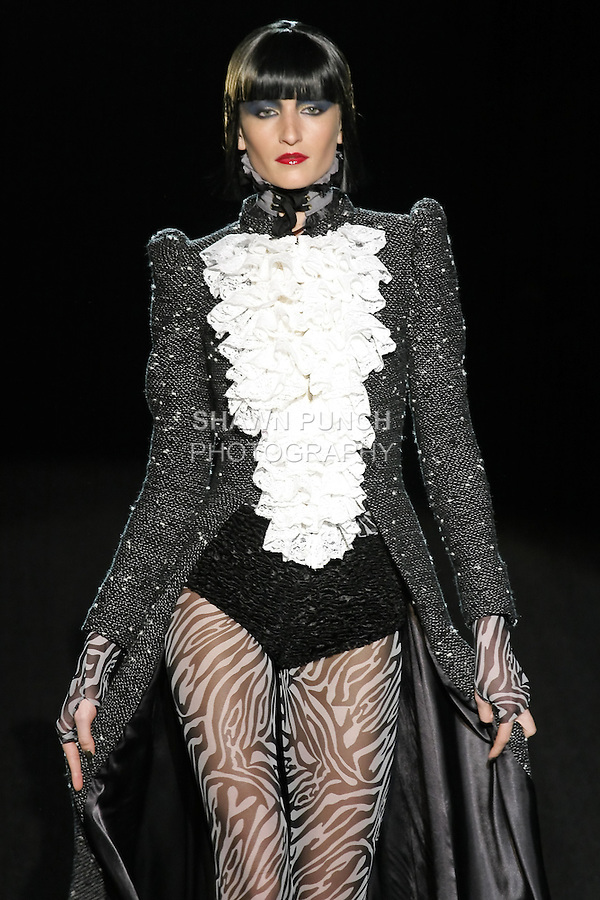 Simona walks runway in a To Sir with Love outfit, from the Betsey Johnson Fall 2011 He Loves Me Not - Black Tag collection, during Mercedes-Benz Fashion Week Fall 2011.