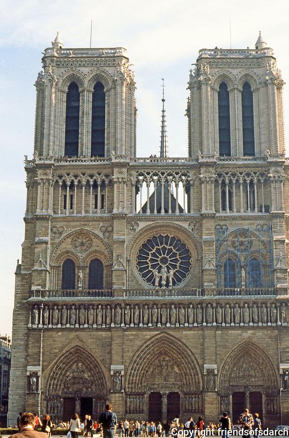 Paris: Notre Dame--facade. Gothic design. Photo '87.