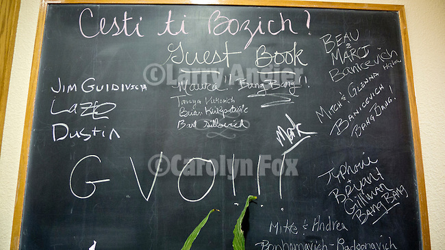 Christmas chalkboard of guests at the Lucke home during the Serbian Community's celebration of Christmas on January 7.