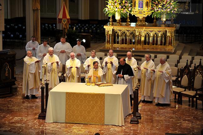 Rev. John Jenkins, C.S.C. celebrates Mass in honor of the dedication of the Eck Hall of Law...Photo by Matt Cashore/University of Notre Dame