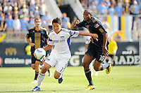Roger Espinoza (17) of the Kansas City Wizards is cahsed by Danny Mwanga (10) of the Philadelphia Union. The Philadelphia Union and the Kansas City Wizards played to a 1-1 tie during a Major League Soccer (MLS) match at PPL Park in Chester, PA, on September 04, 2010.