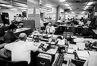 New York City, NY, June 20th, 1971. Inside of The New York Time building. The Newsroom with reporters, writers.