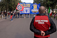 Roma 28 Febbraio 2015<br /> &quot;Renzi a casa!' - Il corteo di Casapound  movimento di estrema destra, che partecipa alla manifestazione della Lega nord contro il il presidente del Consiglio Matteo Renzi.<br /> Rome February 28, 2015<br /> &quot;Renzi at home! '- The manifestation of  Casapound, far-right movement, participating in the demonstration of the Northern League against the Prime Minister Matteo Renzi.