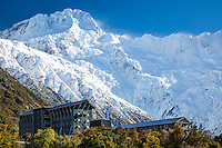 Mt Sefton towers above the Hermitage Hotel, Aoraki Mt Cook Village NZ.   Aoraki/Mount Cook National Park NZ