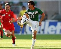 Luis Perez of Mexico pulls the ball down. Mexico defeated Iran 3-1 during a World Cup Group D match at Franken-Stadion, Nuremberg, Germany on Sunday June 11, 2006.
