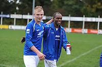 VOETBAL: SURHUISTERVEEN: Sportpark 't Ketting, 20-10-2012, vv 't Fean '58 - SC Veenwouden, Eindstand 2-1, tevredenheid bij de spelers van vv 't Fean, Jens Hamstra (#14) en Imani Mchimbwa (#7), ©foto Martin de Jong