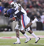 Mississippi wide receiver Vince Sanders (10) is tackled by Vanderbilt defensive back Trey Wilson (8) at Vaught-Hemingway Stadium in Oxford, Miss. on Saturday, November 10, 2012. (AP Photo/Oxford Eagle, Bruce Newman)