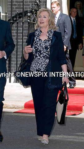 "HILARY CLINTON.The US Secretary of State for Foreign Affairs who also attended the meeting at No.10 Downing Street, London_25/05/2011.Mandatory Photo Credit: ©Dias/Newspix International..**ALL FEES PAYABLE TO: ""NEWSPIX INTERNATIONAL""**..PHOTO CREDIT MANDATORY!!: NEWSPIX INTERNATIONAL(Failure to credit will incur a surcharge of 100% of reproduction fees)..IMMEDIATE CONFIRMATION OF USAGE REQUIRED:.Newspix International, 31 Chinnery Hill, Bishop's Stortford, ENGLAND CM23 3PS.Tel:+441279 324672  ; Fax: +441279656877.Mobile:  0777568 1153.e-mail: info@newspixinternational.co.uk"