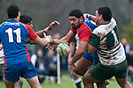 Frtz Lee has his pass to Whaiora Rangiwai disrupted by Ashee Tuala as he is tackled by Ben Afoa. Counties Manukau Premier Club Rugby game between Manurewa and Ardmore Marist played at Mountfort Park, Manurewa on Saturday June 19th 2010..Manurewa won the game 27 - 10 after leading 15 - 5 at halftime.