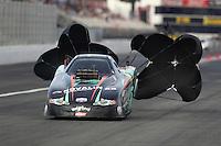 Nov 12, 2016; Pomona, CA, USA; NHRA top alcohol funny car driver Johan Lindberg during qualifying for the Auto Club Finals at Auto Club Raceway at Pomona. Mandatory Credit: Mark J. Rebilas-USA TODAY Sports