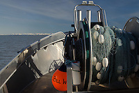 Drum Winch with Fishing Net at Copper River Delta, Cordova, Alaska, US