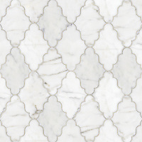 Djinn, a natural stone waterjet mosaic shown in Calacatta Tia polished, is part of the Silk Road Collection by Sara Baldwin for New Ravenna Mosaics. <br />