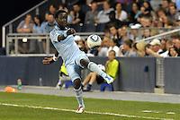 Kei Kamara (23) Sporting KC midfielder keeps the ball in play... Sporting Kansas City defeated Columbus Crew 2-1 at LIVESTRONG Sporting Park, Kansas City, Kansas.