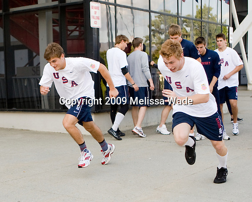 Chris Wideman (US - 2), Vinny Saponari (US - 10) - Team USA warms up outside the rinks prior to their third game against Team Russia during the 2009 USA Hockey National Junior Evaluation Camp on Friday, August 14, 2009, in Lake Placid, New York.